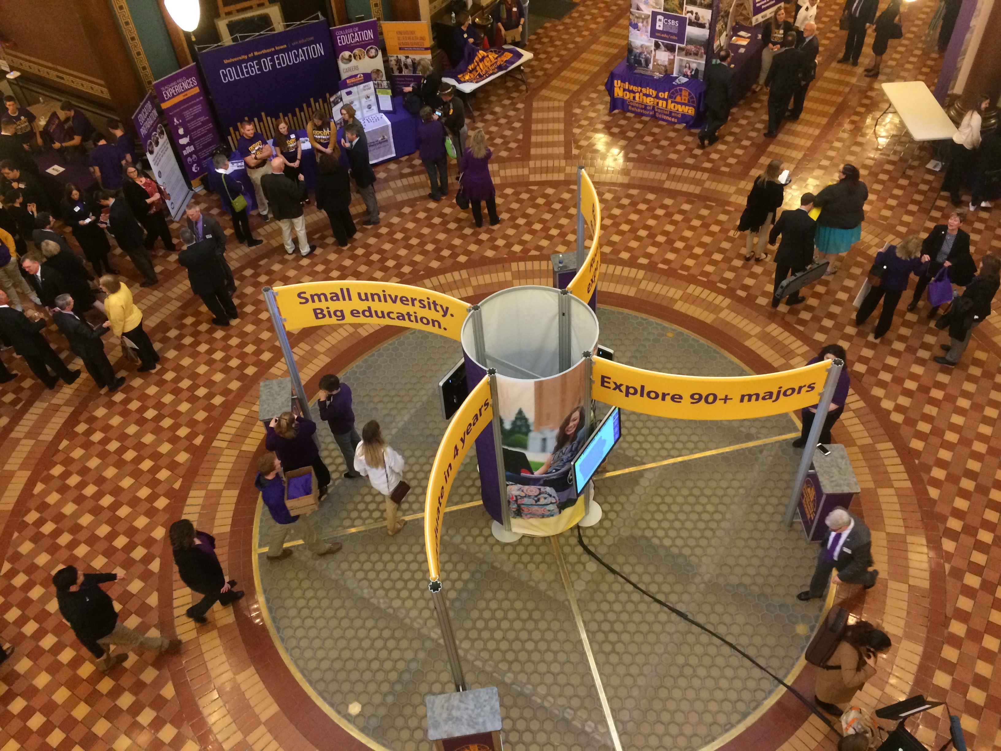 Birds Eye view of all the tables at UNI day at the Capital